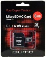 ����� ������ QUMO 8 Gb Micro SD�� Class 10 + ������� SD (QM8GMICSDHC10)