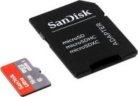 ����� ������ SANDISK Ultra microSDHC 16Gb + SD Adapter C10 UHS-I (SDSQUNC-016G-GN6MA)