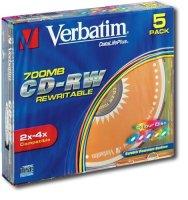 ���� CD-RW VERBATIM 700MB 8X-12XSLIM (����.5��.)