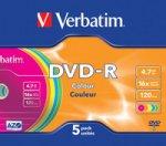���� DVD-R VERBATIM 4.7GB 16XSLIMCOLOR (����.�5��.)