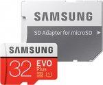 Карта памяти Samsung microSDHC Class 10 EVO+ V2 32Gb+SD adapter (MB-MC32GARU)