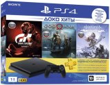 Игровая приставка PlayStation 4 1TB Horizon Zero Dawn + Gran Turismo Sport + God Of War + PS Plus на 3 месяца (CUH-2208B)