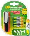 Аккумуляторы GP AAA (HR03) 1000 мАч, 4 шт + USB LED фонарь (GP100AAAHC/USBLED-2CR4)