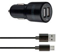 Автомобильное зарядное устройство InterStep Combo: 2USB + отдельный дата-кабель (microUSB)