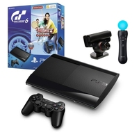 Игровая приставка Sony PlayStation 3 Super Slim 500Gb + PlayStation Move + PlayStation Eye + Sports Champions 2 + Gran Turismo 6