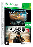 Игра для Xbox 360 Microsoft Gears of War 3 + Halo 4: Game of the Year Edition + Xbox Live: Gold карта подписки 3 месяца
