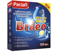 Таблетки для посудомоечных машин Paclan Brileo. All in One Gold, 25 шт (419120) фото