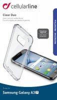 Чехол Cellular Line Clear Duo для Samsung Galaxy A3 2017, прозрачный (CLEARDUOGALA317T)