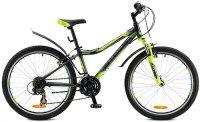 """Велосипед Stels Navigator-420 V 24"""" (2016), рама 13"""", черный/серый/салатовый (LU065962)"""