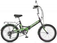 """Велосипед Stels Pilot-450 20"""" Z010 (2017), рама 13.5"""", черный/зеленый (LU070359)"""