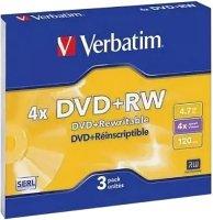 DVD+RW диск Verbatim 4.7Gb 4x slim 3 (43636)