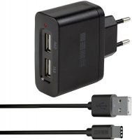 Сетевое зарядное устройство InterStep 2USB + кабель USB Type-C, 2000 мА, черный (IS-TC-TYPEC002K-000B201)