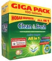 Таблетки для посудомоечных машин Clean&Fresh All in 1, 100 шт (4660002310123)