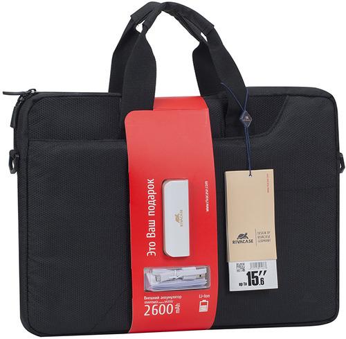 Купить Сумка для ноутбука + аккумулятор 2600 mAh RIVACASE, 15, 6 Black (8035)
