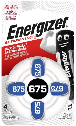 Батарейки для слухового аппарата Energizer Zinc Air 675 DP-4, 4 шт