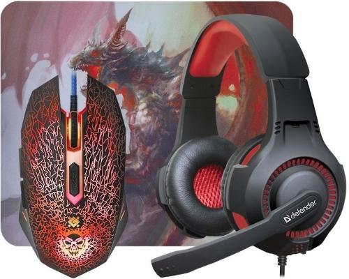 Купить Игровой набор Defender, мышь + наушники + коврик DragonBorn MHP-003