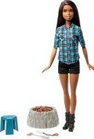Игровой набор с куклой Barbie У костра, цвет рубашки голубой (FDB43)