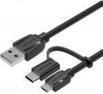 Кабель Vention USB Type C M+micro B 5pin/USB 2.0 AM, 0,5м, Black Edition (CABBD)