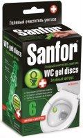 """Гелевый очиститель для унитаза Sanfor WC Gel Discs, """"Зеленый цитрус"""" (14743)"""