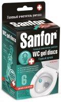 """Гелевый очиститель для унитаза Sanfor WC Gel Discs, """"Горный ручей"""" (14742)"""
