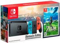 Игровая приставка Nintendo Switch красный/синий + The Legend of Zelda: Breath of the Wild