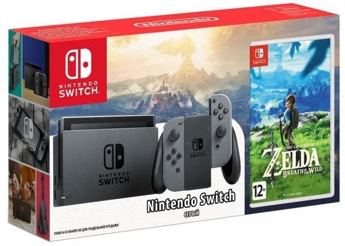 Купить Игровая приставка Nintendo, Switch серый + The Legend of Zelda: Breath of...