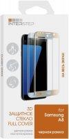 Защитное стекло с рамкой 3D InterStep для Samsung Galaxy A8, черная рамка (IS-TG-SAMA83DBL-000B202)