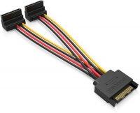 Кабель-разветвитель Vention SATA (15pin) M/2xSATA (15pin) F (угол 90), 0.15 м (KDBBB)