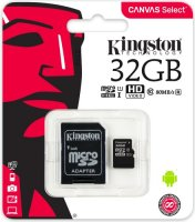 Карта памяти Kingston microSDHC 32GB Class 10 UHS-I U1 + SD адаптер (SDCS/32GB)