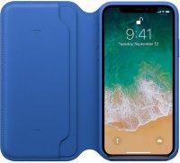 Чехол Apple Leather Folio  для iPhone X Electric Blue (MRGE2ZM/A)
