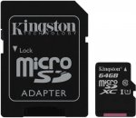 Карта памяти Kingston microSDXC 64GB Class 10 UHS-I + адаптер (SDCS/64GB)