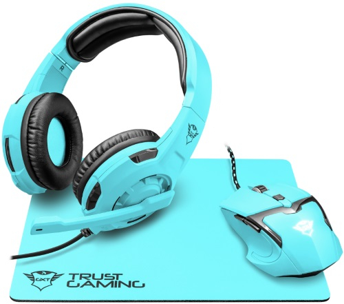 Купить Игровой набор Trust, наушники + мышь + коврик GXT 790-SB Spectra Blue