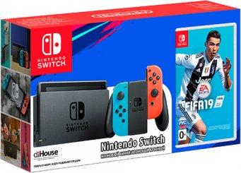 8f1275c6eb60d Игровая приставка Switch красный/синий + FIFA 19 - купить игровую консоль  Nintendo Switch красный/синий + FIFA 19 по выгодной цене в интернет-магазине  ...