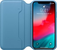 Чехол Apple Leather Folio Cape для iPhone XS Cod Blue (MRX02ZM/A)