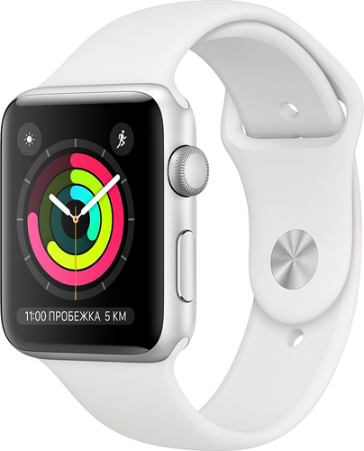 Купить Умные часы Apple, Watch S3 42mm Silver Aluminum Case with White...