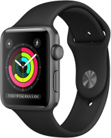 APPLE WATCH S3 42MM SPACE GRAY ALUMINUM CASE WITH BLACK SPORT BAND