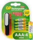 Аккумуляторные батареи GP AAA (HR03) 1000 мАч, 4 шт + USB LED фонарь (GP100AAAHC/USBLED-2CR4)