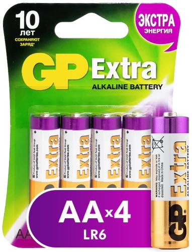 Батарейки GP Extra Alkaline AA (LR6), 4 шт (15AXNEW-2CR4)