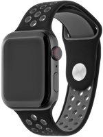 Ремешок InterStep Action для Apple Watch 42mm/44mm, силикон, черный/темно-серый (HWE-AWB40ACT-NP0112T-K100)