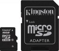 Карта памяти Kingston microSDHC Class 10 UHS-I 16GB +SD адаптер (SDCA10/16GB)
