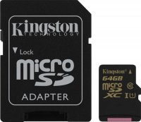 Карта памяти Kingston microSDXC UHS-I Class 10 64GB (SDCA10/64GB)