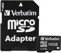 Карта памяти Verbatim microSDHC 16GB + SD адаптер (43968)