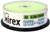 DVD-RW диск Mirex 4.7Gb 4x 25 шт (202530)