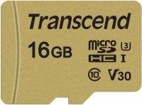 Карта памяти Transcend microSDHC 16GB Class 10 + адаптер  (TS16GUSD500S)