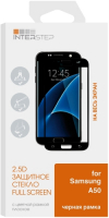 Защитное стекло с рамкой 2.5D InterStep для Samsung Galaxy A50, черная рамка (IS-TG-SAMA50FSB-000B202) фото
