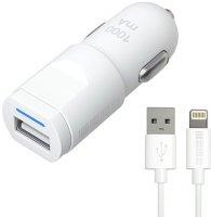 Автомобильное зарядное устройство InterStep 1USB 1A + кабель Lightning White (IS-CC-1USBIPH5W-000B201)
