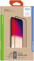 Защитное стекло с рамкой 3D InterStep Full Cover iPhone Xs/X, черная рамка (IS-TG-IPHONXS3B-UA3B202)