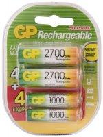 Аккумуляторые батареи GP AA + AAA, 4 шт (GP270AA/100AAAHCFR-2CR8)