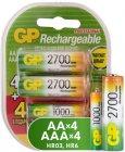 Аккумуляторые батареи GP AA (HR6) 2700 мАч, 4 шт + ААА (LR03) 1000 мАч, 4 шт (GP270AA/100AAAHCFR-2CR8)