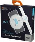 Беспроводное зарядное устройство InterStep для Apple Watch/IPhone, QI, 12Вт, белый (IS-TC-IPAWQIWST-000B210)
